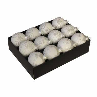 12x glazen gedecoreerde witte kerstballen 7,5 cm