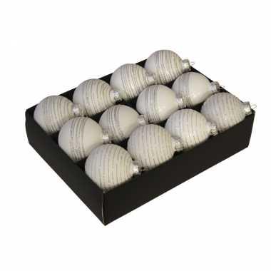 12x luxe glazen gedecoreerde witte kerstballen met streep 7,5 cm