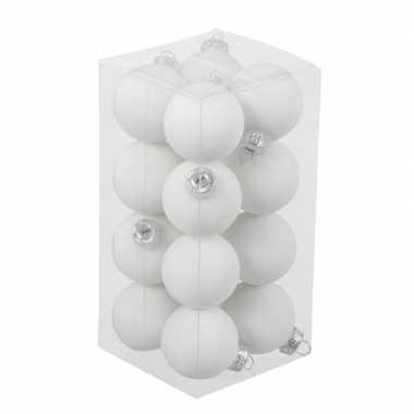 16x witte kleine glazen kerstballen 3,5 cm mat/glans