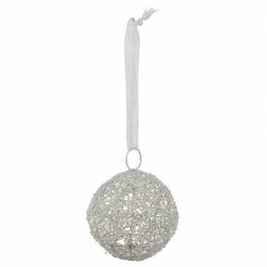 1x grote witte kerstbal van linnen 10 cm