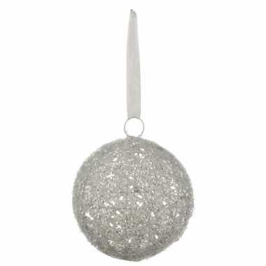 1x grote witte kerstbal van linnen 15 cm