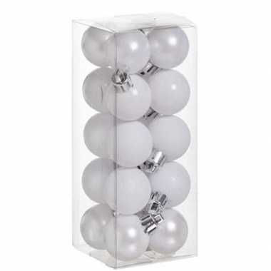 20x kleine witte kerstballen 3 cm kunststof mat/glans/glitter