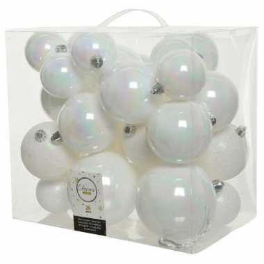 26x kunststof kerstballen mix parelmoer wit 6-8-10 cm kerstboom versiering/decoratie