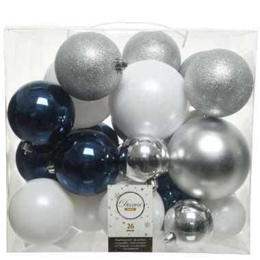 26x kunststof kerstballen mix wit-blauw-zilver 6, 8 en 10 cm