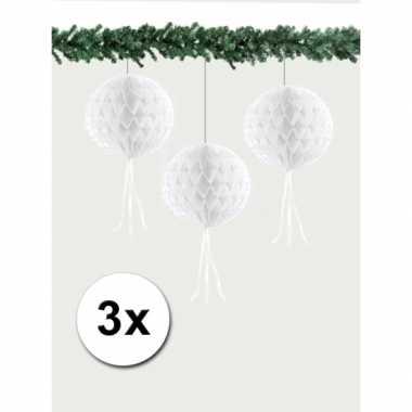 3 honeycomb kerstballen wit 30 cm