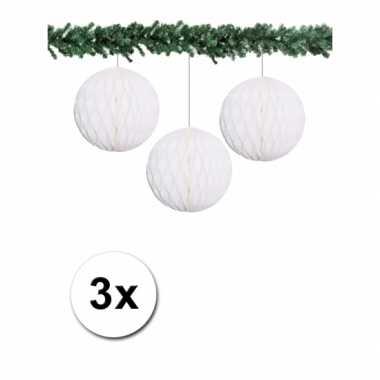 3 witte papieren kerstballen 10 cm