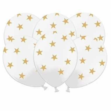 30x witte ballonnen met gouden sterretjes