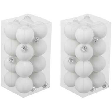 32x witte kleine glazen kerstballen 3,5 cm mat/glans