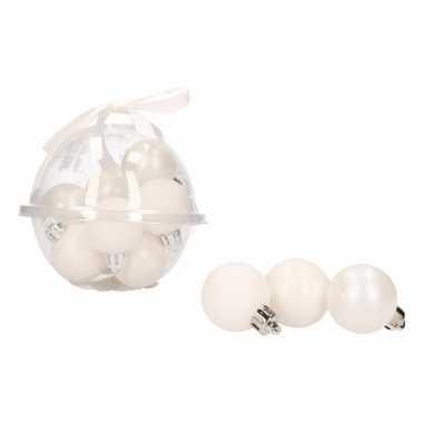 36x-delige mini kerstballenset wit 3 cm