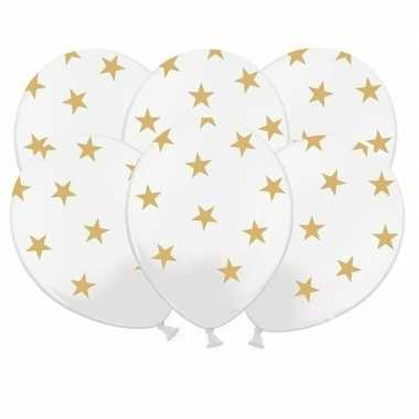 36x witte ballonnen met gouden sterretjes