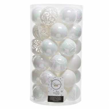 37x kunststof kerstballen mix parelmoer wit 6 cm kerstboom versiering/decoratie