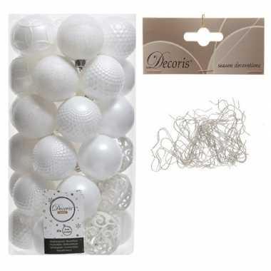 37x kunststof kerstballen mix winter wit 6 cm met kerstboomhaakjes