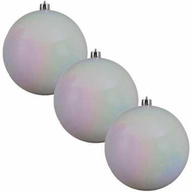3x grote raam/deur/kerstboom decoratie parelmoer witte kerstballen 20 cm glans
