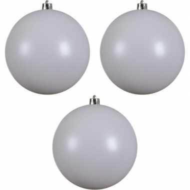 3x grote raam/deur/kerstboom decoratie winter witte kerstballen 20 cm mat