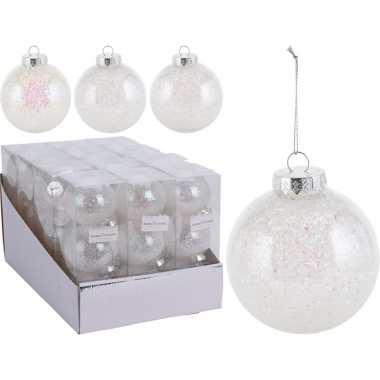 3x kerstballen wit 8 cm kunststof kerstboom versiering/decoratie