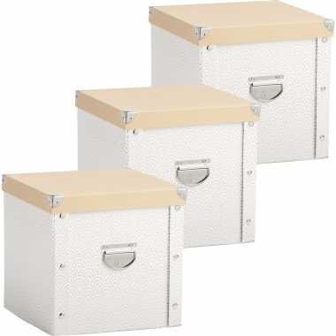 3x opruimdozen/boxen voor 27 kerstballen wit/goud 30 x 30 cm