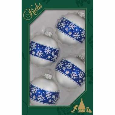 4x glazen witte kerstballen met blauwe decoratie 7 cm