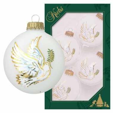 4x glazen witte kerstballen wit met duif 7 cm