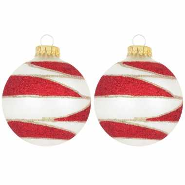 8x glazen glitter kerstballen wit/rood/goud velvet 7 cm