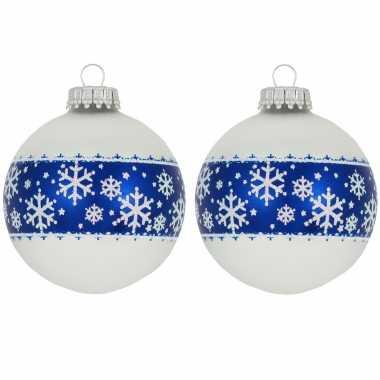 8x glazen witte kerstballen met blauwe decoratie 7 cm
