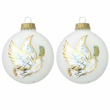 8x glazen witte kerstballen wit met duif 7 cm