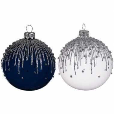 Blauw/witte kerstballen transparant 8 cm