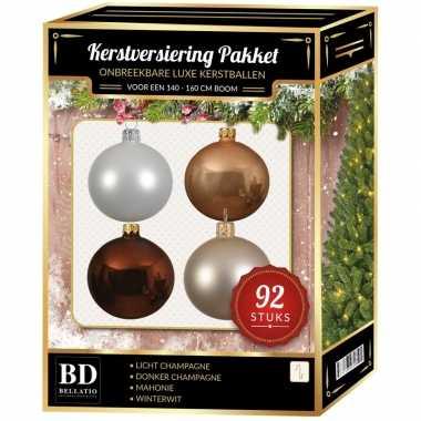 Champagne/wit/beige/bruin kerstballen pakket 92-delig voor 150 cm boom