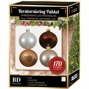 Champagne/wit/bruine kerstballen pakket 170-delig voor 210 cm boom