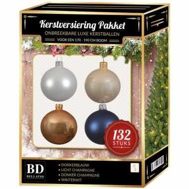 Champagne/wit/parel/donkerblauwe kerstballen pakket 132-delig voor 180 cm boom