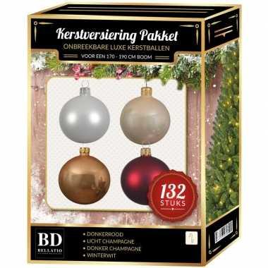 Champagne/wit/parel/donkerrode kerstballen pakket 132-delig voor 180 cm boom