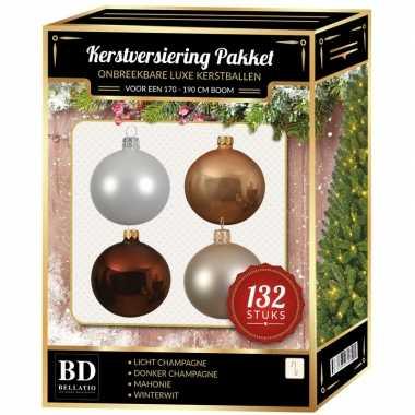 Champagne/wit/parel/mahoniebruine kerstballen pakket 132-delig voor 180 cm boom