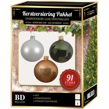 Champagne/witte/donkergroene kerstballen pakket 91-delig voor 150 cm boom