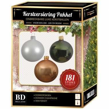 Donker champagne/witte/donkergroene kerstballen pakket 181-delig voor 210 cm boom