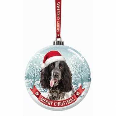 Glazen kerstbal hond engelse cocker spaniel zwart/wit 7 cm