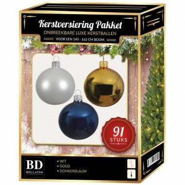 Gouden/witte/donkerblauwe kerstballen pakket 91-delig voor 150 cm boom