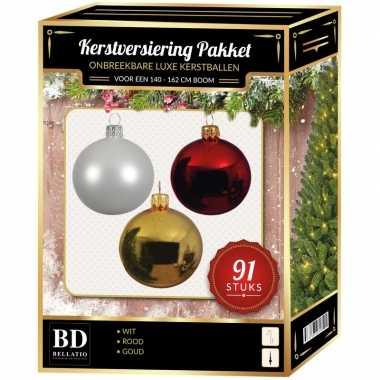 Gouden/witte/kerstrode kerstballen pakket 91-delig voor 150 cm boom