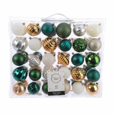 Kerst kerstballen mix 60 delig groen/ goud/ zilver en wit