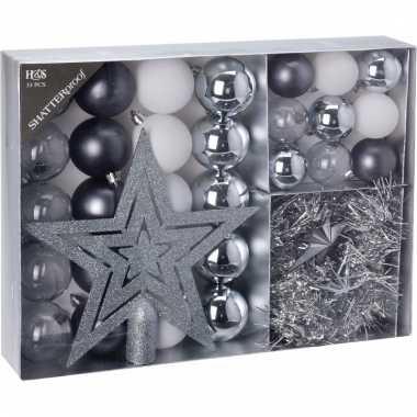 Kerstboomdecoratie 33 delig zilver wit