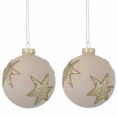 Kerstboomversiering 2x sterren kerstballen wit 8 cm