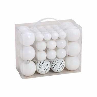 Kerstboomversiering 50x witte plastic kerstballen