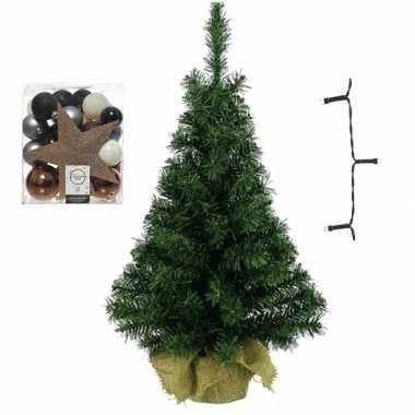 Kleine kunst kerstboom met verlichting en kerstballen blauw/bruin/champagne