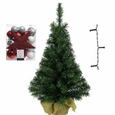 Kleine kunst kerstboom met verlichting en kerstballen wit/zilver/rood