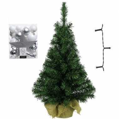 Kleine kunst kerstboom met verlichting en kerstballen wit/zilver