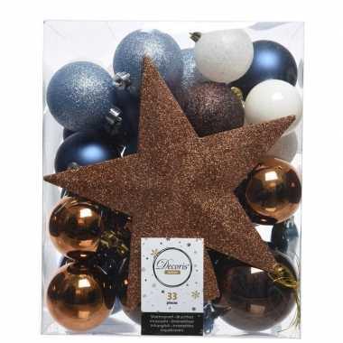 Luxe kerstballen pakket + piek dennen blauw/bruin/wit kunststof 33 st