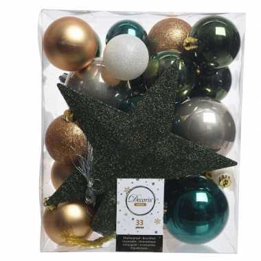 Luxe kerstballen pakket + piek dennen groen/goud/wit kunststof 33 stu