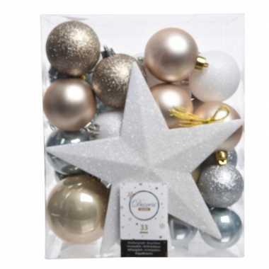 Luxe kerstballen pakket + piek ijsblauw/goud/wit kunststof 33 stuks