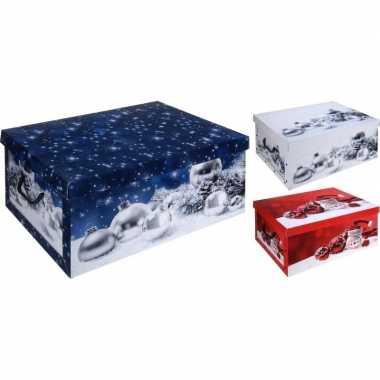 Pakket van 2x stuks witte kerstballen opbergdoos 51 cm