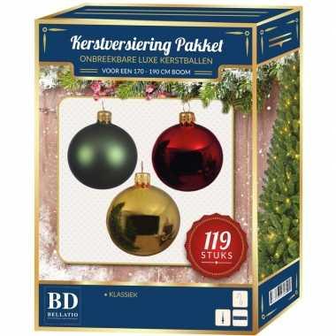 Rood/groen/goud/wit kerstversiering pakket 119-delig voor 180 cm boom