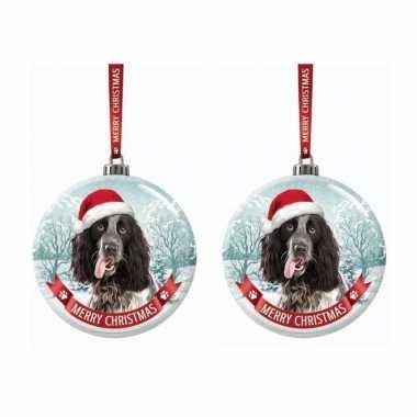 Set van 2x stuks glazen kerstballen hond engelse cocker spaniel zwart/wit 7 cm