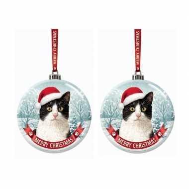 Set van 2x stuks glazen kerstballen kat/poes zwart/wit 7 cm